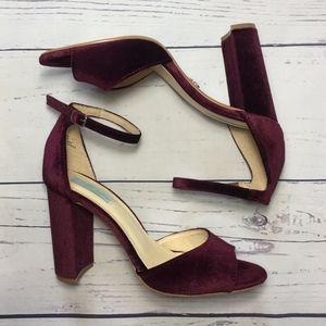 Betsey Johnson Burgundy Velvet Heels